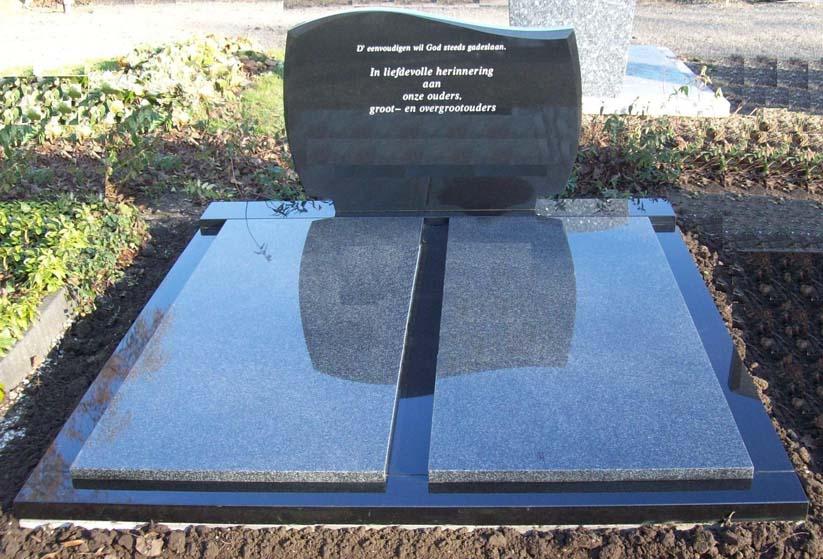 Letterplaat en omranding Zwart graniet dekplaten Impala graniet D001