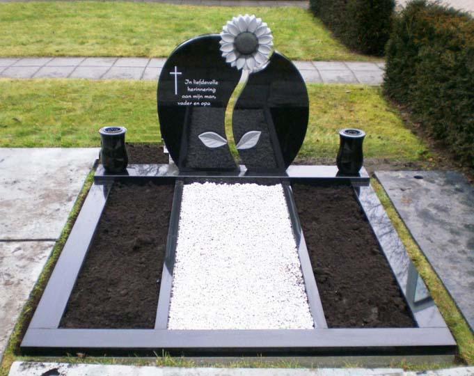 Geheel Zwart graniet met behakte bloem D023