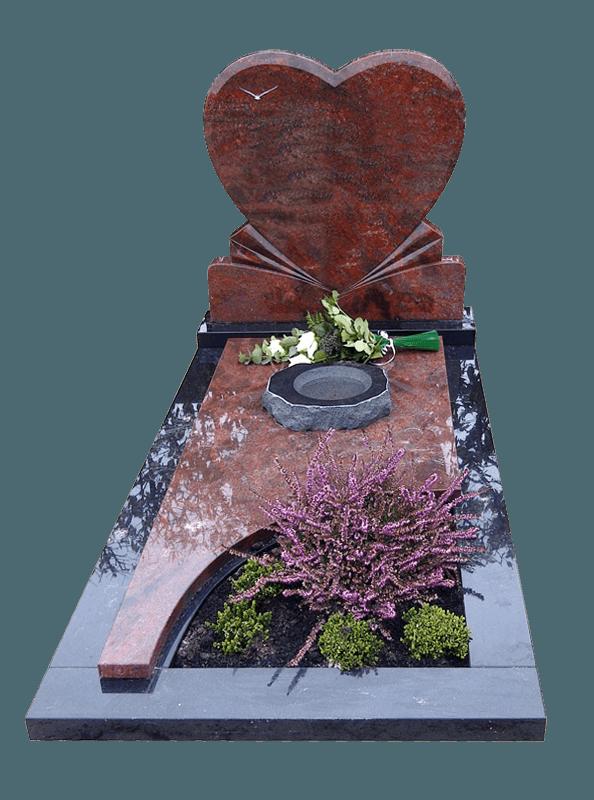Letterplaat en afdekplaat Romantica graniet Omranding Zwart graniet AB057