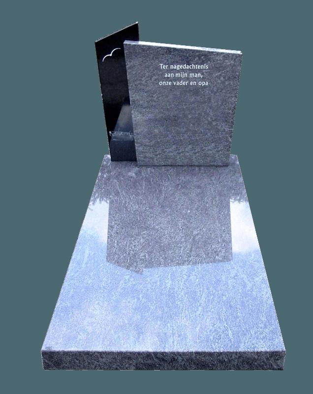 Vloerplaat en letterplaat Orion graniet zuil Zwart graniet AB091