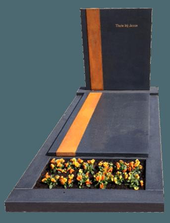 Zwart graniet gezoet met Cortenstaal AB140