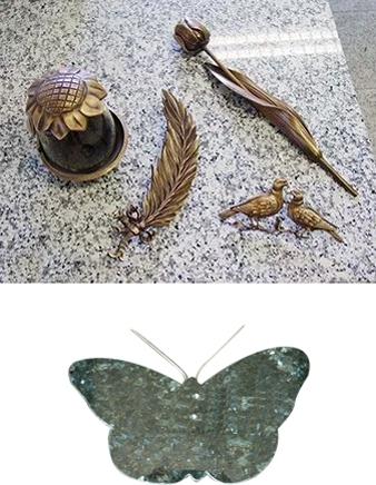 grafbeeldjes in brons en glas