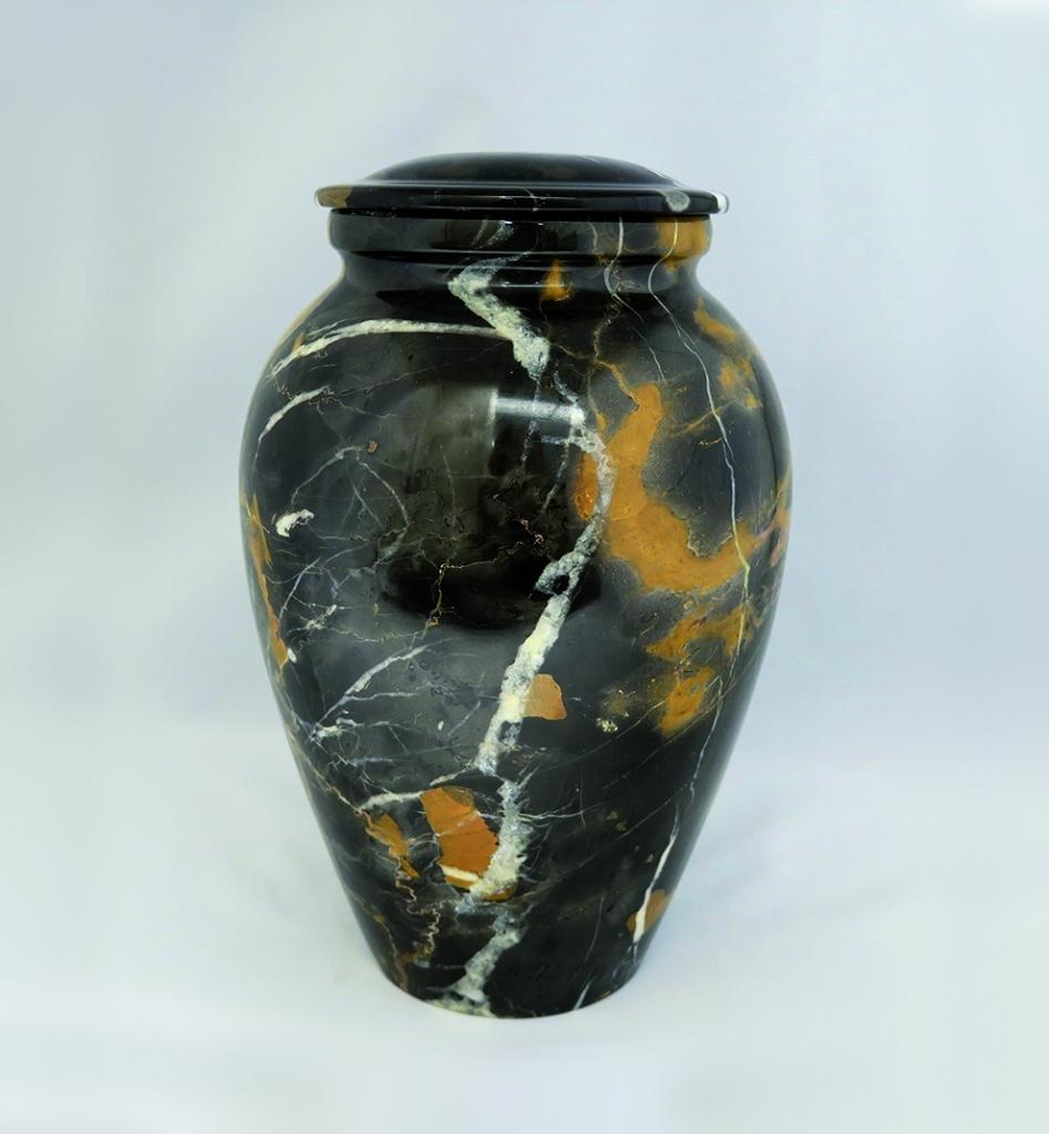 Urn van zwart en goud marmer UB011