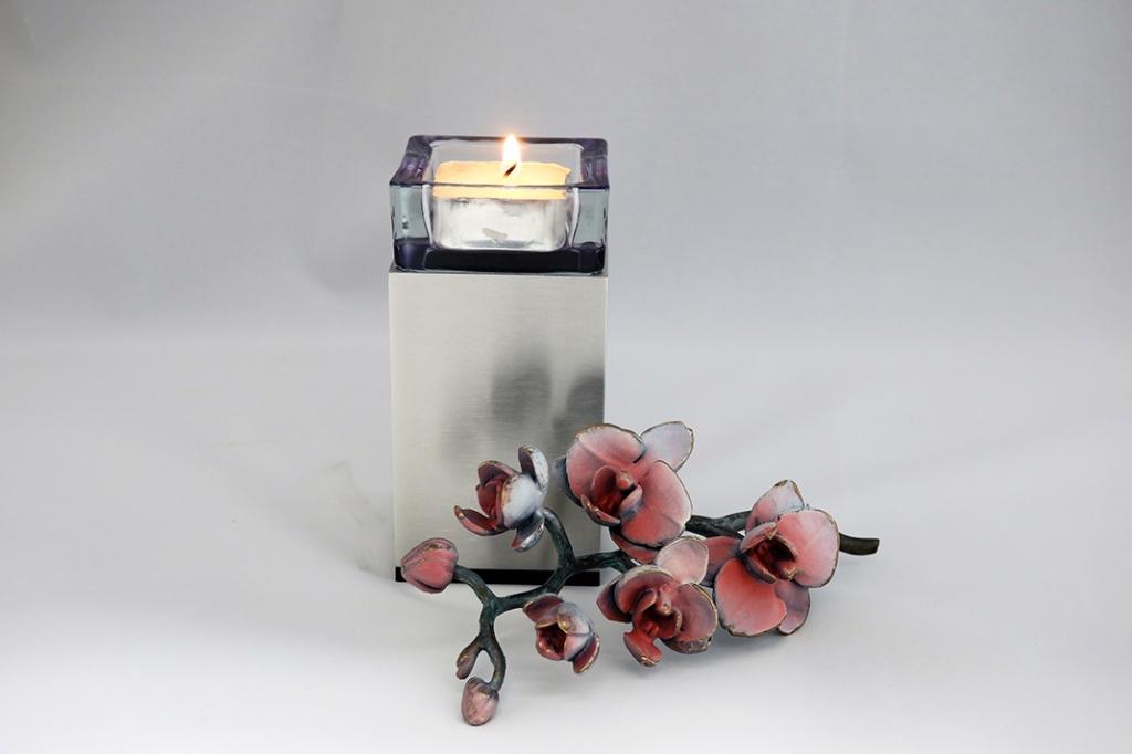 urn rvs met waxinelicht UB029