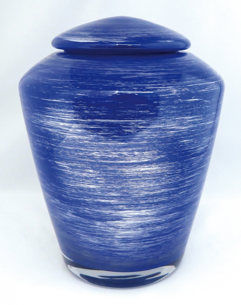 urn van blauw glas UB021